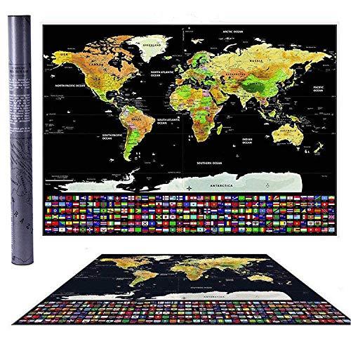 (Luxus Scratch Off World Map beschichtetes Papiermaterial - Travel Tracker, Gold personalisierte Karte Wandposter, Deluxe Geschenk für Reisende & Travel Tracking,)