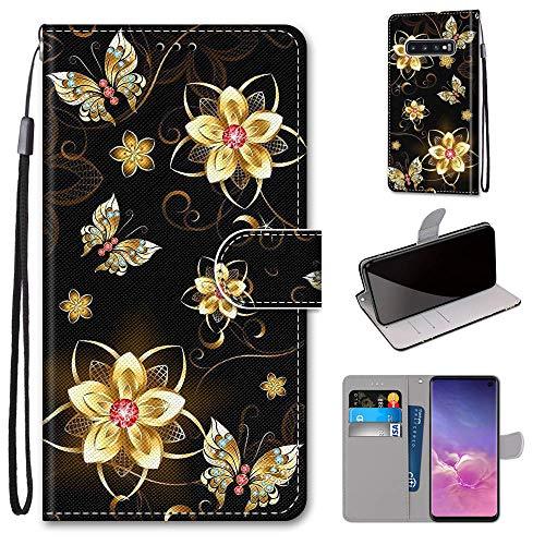 Miagon Flip PU Leder Schutzhülle für Samsung Galaxy S10 Plus,Bunt Muster Hülle Brieftasche Case Cover Ständer mit Kartenfächer Trageschlaufe,Diamant Schmetterling