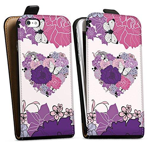 Apple iPhone X Silikon Hülle Case Schutzhülle Herz Schmetterling Love Blumen Downflip Tasche schwarz