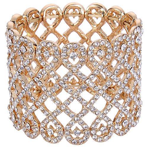 Flyonce Damen Österreichische Kristall Art Deco Love Knot Breites Braut Stretch Armband Klar Gold-Ton