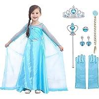 URAQT Elsa Costume, Set da Principessa Elsa Corona Bacchetta Guanti Treccia, Elsa Costume di Cosplay Party Halloween…