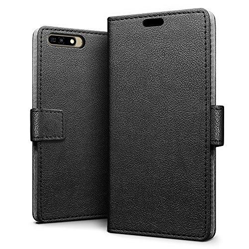 SLEO Huawei Y6 2018 Hülle, PU Leder Case Tasche Schutzhülle Flip Case Wallet im Bookstyle für Huawei Y6 2018 Cover - Schwarz