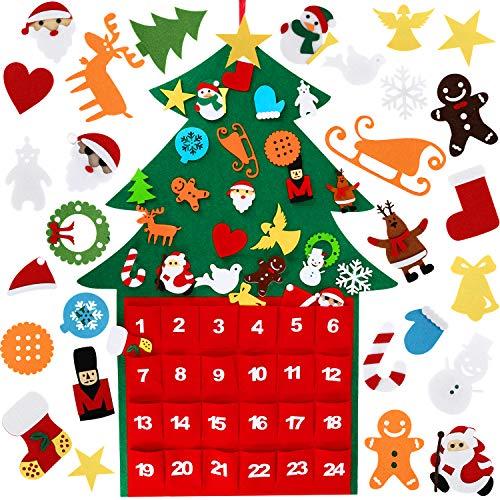 Wostoo albero natale feltro,della feltolta di diy tasca del calendario feltro albero natale con 29 ornamenti regali di natale di nuovo anno per la decorazione della parete del portello dei bambini
