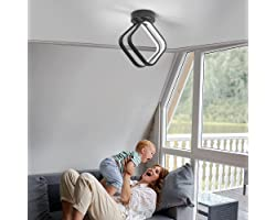 Osairous Plafonnier Led Moderne, Lampe de Plafond Acrylique 18W, Plafonnier Trois Couleurs à Lumière Variable pour Couloir de