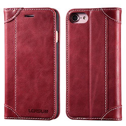 Cover iphone 7, cover iphone 8, lensun in vera pelle cuoio custodia genuino annata a portafoglio flip con coperchio frontale magnetica per iphone 7 e iphone 8 4.7