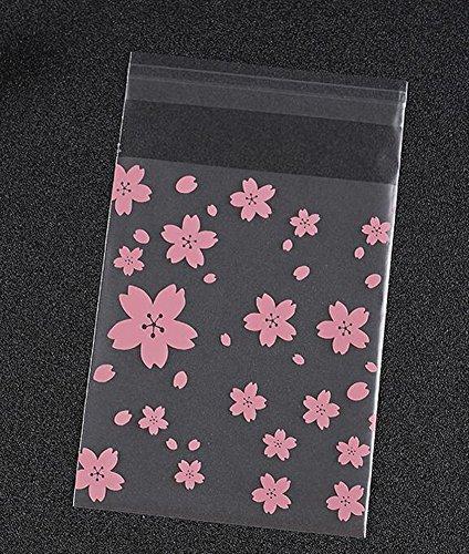 Pink Cherry Blossoms 100PCS OPP Cookie Kekse Verpackung Tasche Transparent Hochzeit Party Candy Kuchen Backen Zellophan, plastik, 7x7cm (Blossom Tasche)