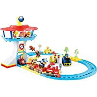HALO NATION Paw Patrol Lookout Electric Orbital Rescue Train Playset Track Toy with Marshall, Rocky & Their Vehicles