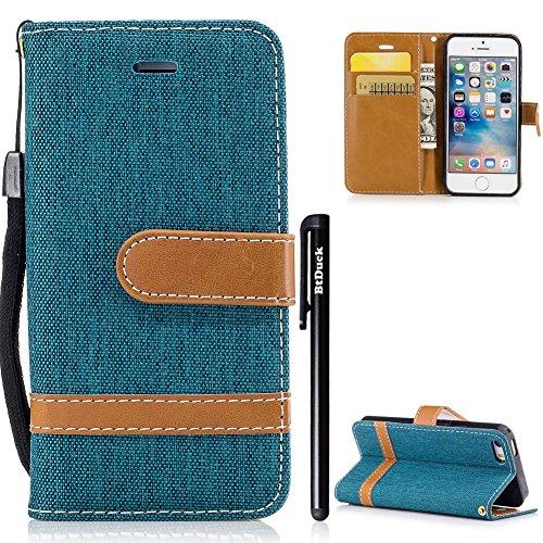 iPhone SE Handyhülle,BtDuck Denim Hülle Leder Retro Grün Slim Tasche Brieftasche Silikon Back...