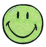 XL Bügelbild - Smiley grün - 12,5 cm * 12,5 cm - Aufnäher gewebter Flicken / Applikation - Gesichter Smile Emotion Smileys / lachend grinsend - bunt World - Mädchen Jungen Kinder Erwachsene - Smilies