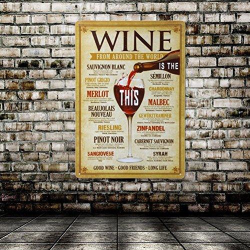 Distressed Wein (WINOMO Wein aus der ganzen Welt trinken Distressed Vintage Retro Blechschild)