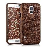 kwmobile Hülle für Samsung Galaxy S5/S5 Neo/S5 LTE+/S5 Duos - Rosenholz Case Handy Schutzhülle - Hardcase Cover Indische Sonne Design Dunkelbraun