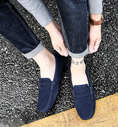 YiJee Homme Moccassins Slip-on Loisirs Loafers Chaude Chaussures de Conduite Bleu Foncé