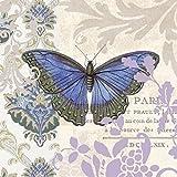 PPD Vintage Papillon Servietten, 20 Stück, Tischservietten, Tissue, Bunt, 33 x 33 cm, 7727