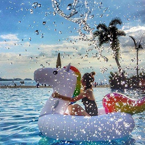 Riesigen aufblasbaren Einhorn Schwimmendes Bett, Pool-Einhorn, PVC aufblasbares Schwimmendes Bett, Float-Spielzeug, Allgemeines / Erwachsen- / Kindschwimmenring-Wassererholungfreizeit-Stuhl von 2-3 Personen - 8