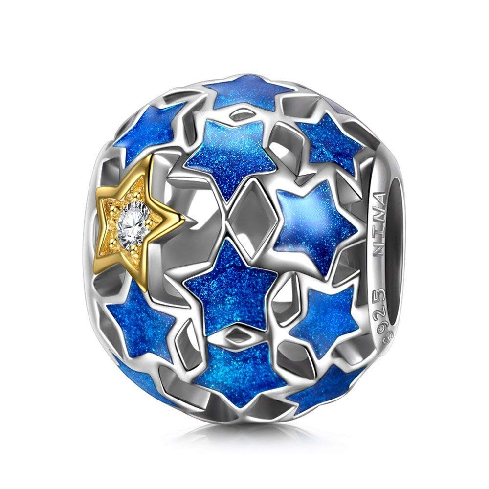 NINAQUEEN® Plata Abalorios Charm Cielo Nocturno – Contando Estrellas con Caja de Regalo