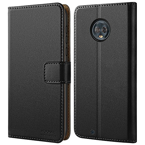 HOOMIL Motorola Moto G6 Hülle, Leder Flip Case Handyhülle für Moto G6 Tasche Brieftasche Schutzhülle - Schwarz (H3286)