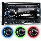 XOMAX XM-2RSU419 Autoradio DIN 2 (doble DIN) Tamaño de montaje estándar + No hay unidad de CD + MOSFET 4x60 vatios + AUX-IN + 3 ajustables colores de iluminación: azul, rojo, verde + WMA + MP3 + USB y Micro SD (128 GB por Medio) + RDS + FM radio + Bluetooth manos libres y música + ISO + antena de radio