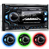 XOMAX-XM-2RSU419-Car-Stereo-without-CD-Player-Bluetooth-hands-free-music-streaming-USB-port-plays-up-to-128-GB-and-micro-SD-Card-slot-plays-up-to-128-GB-for-MP3-WMA-3-light-colours-adjustable-Blue-Red