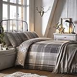 Dreams & ~ Drapes – Colville Check, 100% algodón, Gris, Super-King Bed