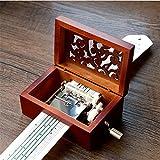 Cuzit antico vintage telefono carillon in legno 15note Movement manovella carillon DIY make Yr own Song include a punch, 20fogli bianchi e 16Music Paper Best gift