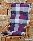Hochlehner Auflagen 120x52x8 cm in Flieder kariert SUN GARDEN Ibiza 10236-35 ohne Sessel