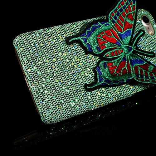 Coque iPhone 7,Étui iPhone 7,iPhone 7 Case,ikasus® Coque iPhone 7 Hard Étui Housse Téléphone Couverture Hard avec Modèle de diamant brillant Handcraft 3D Papillon brodé Modèle Ultra Mince Premium Semi Vert
