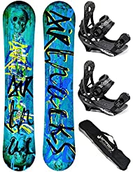 AIRTRACKS SNOWBOARD SET /PACK/ PLANCHE SKULL WIDE+FIXATIONS SAVAGE+SB SAC/NEUF