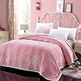 Zangge Bedding Throw Blanket Double Flannel Soft Thick Warm Quilted Blanket for Home Bed Sofa Pink 180 x 200cm
