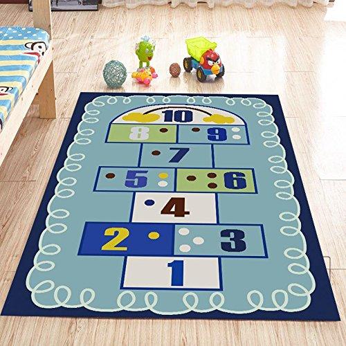 WXDD Schönes Kinder Teppich Wohnzimmer Bett Matratze home Princess Zimmer krabbeln pad Maschine waschbar, 80 x 160 cm, blau Zahlen