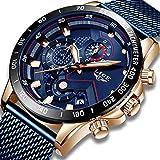 Montre Homme La Mode Étanche Acier Inoxydable Montre de Sport Hommes Quartz Analogique Affaires Robe Bleu Multifonctionnel Automatique Montre-Bracelet