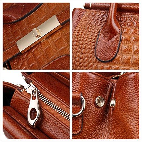 Hermiona Women Genuine Leather Crocodile Grain Shoulder Bag Top-handle Tote Bag Black Precios Baratos Auténtica 72vDajhw