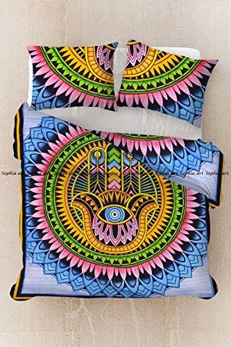 Sophia Art Pinsel Print hamsha Hand Mandala Queen Size Hippie Boho Baumwolle Doona Bettbezug Mandala Hippie Bohemian, Steppdecke, Set mit von Dreamtime (Multi)