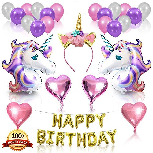 Unicorn Birthday Balloons Unicorn Party Supplies Kit for Girls Perfect Theme Party Decorations Set for Kids Huge Helium Unicorn Balloons and Happy Birthday Banner for Magical Unicorn Party (3) (Kid Birthday Supplies Party)