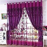 Notdark Voile Gardinen für Schlafzimmer Fensterbehandlung Vorhang für Französisches Fenster 250×100 cm (100 * 250cm, D)