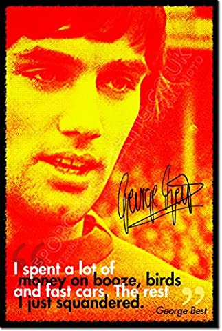 George Best Art Print Photo Poster Unique Gift - Size: 12 x 8 Inches