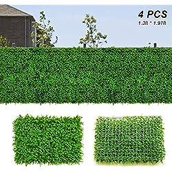 Xatan Panneaux de buis artificiels pour clôtures de Jardin ou d'intérieur, Vert, 4 pièces