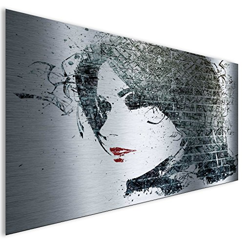 Black Girl Face moderno astratto lucido contemporaneo in alluminio metal