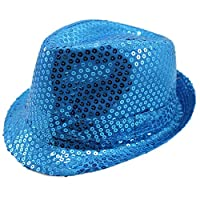 Geekbuzz Unisex Sequin Fedora Hat Colorful Bling Trilby Sequin Hat Fancy Dress for Stage Show Glitter Dance Hat Disco Hat Jazz Hat Party Costume Cap for Adult/Kids(Blue, Adult)