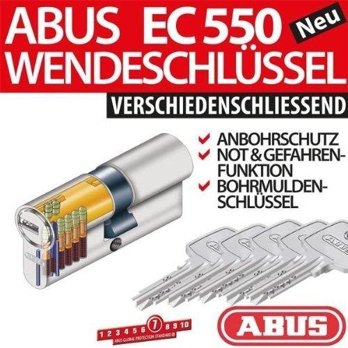 ABUS EC550 Türzylinder Profilzylinder mit 5 Schlüssel