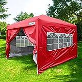Quictent Pop-Up-Pavillon, mit Seitenwänden, Walmdach, silberbeschichtet, wasserfest, mit Aufbewahrungsbeutel, 3x4,5m, Rot