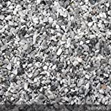 Steinteppich Marmorkies für 2qm | BEKATEQ BK-600EP Bodenbelag Bodenbeschichtung (25KG Marmorkies + 1,5KG Bindemittel, Grau - Grigio Bardiglio)