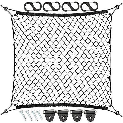 9 MOON 4 Hooks Car Trunk Cargo Net Mesh Storage Organizer - Car Net for Kids Luggage - Universal Car Accessories Net