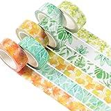 YUBX Washi Tape Set Ruban Adhésif Papier Décoratif Masking Tape pour Scrapbooking Artisanat de Bricolage (Plant)