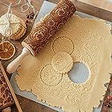 ASAPCHIC Rolling Pin per biscotti e pizza Utensile da Cucina in Rilievo di Legno Inciso a Forma di mattarello Inciso di Natale,Goffratura Mattarello, Mattarello di Pane, Mattarello di Pasta