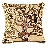 Designer Ungewöhnlich Kissenbezug/ Kissenhüllen 45x45cm von Signare - Tapisserie Beige Bunt Sofa Couch - Klimt/Tree of Life-Tree CCOV-ART-KLIMT-2