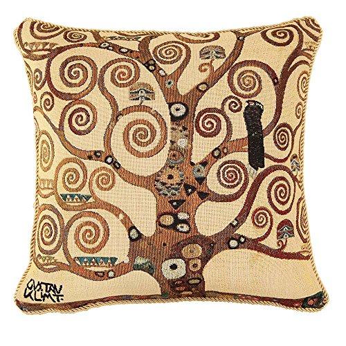 Designer Ungewöhnlich Kissenbezug/ Kissenhüllen 45x45cm von Signare - Tapisserie Beige Bunt Sofa Couch - Klimt/Tree of Life-Tree CCOV-ART-KLIMT-2 -