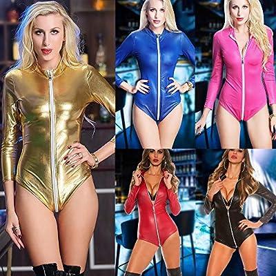 letter54 Frauen Sexy Jumpsuit, Frauen Leder Spaghetti Schulter Reißverschluss Bodycon Dance Trikot Bodysuit