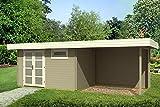 Tene Kaubandus Gartenhaus ORIENTAL 3 40-SD300 mit Schleppdach 380x260+300cm 40mm Blockhaus