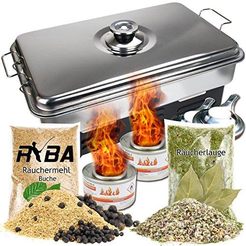 Preisvergleich Produktbild RYBA Set- Edelstahl Tischräucherofen mit Thermometer + Brennpaste,  Räuchermehl mit Wacholderbeeren,  Räucherlauge