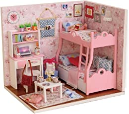 Karp Mood of Love Series Dollhouse Miniature Kit DIY Creative Room with Furniture and Accessories for Kids (Pink)